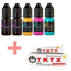 Набір пігментів для татуажу Tinel 5 шт + Анестезія TKTX White 39% в подарунок