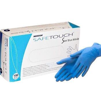 Рукавички нітрилові Medicom Safe Touch Advanced Slim Blue 4.5 гр (без пудри, нестерильні текстуровані S, M, L, XL) 100 шт